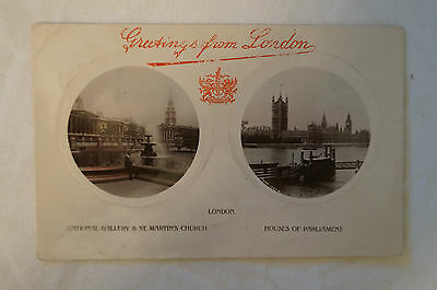 Greetings from London - England - Vintage - Postcard.
