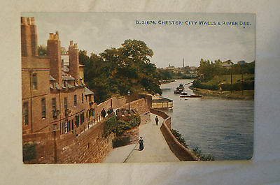 Chester - City Walls and River Dee - England - Vintage - Postcard.