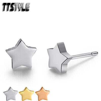 TTstyle Plain Stainless Steel Star Stud Earrings Mens & Womens 3 Color Available