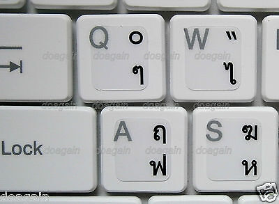 High Quality THAI Kedmanee TRANSPARENT Keyboard Stickers BLACK Letters