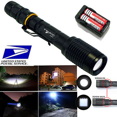 CREE XM-L T6 LED Ultrafire 2000lm Flashlight Torch Zoomable+18650+Charger USA