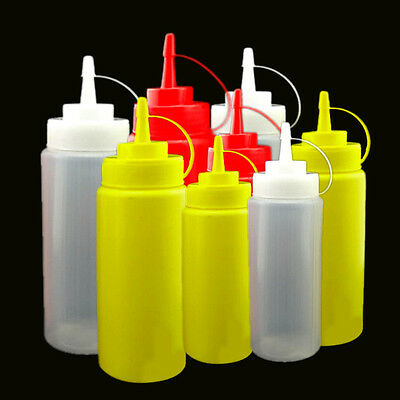 Plastic Squeeze Bottle Condiment Dispenser Ketchup Mustard Sauce Kitchen Tool