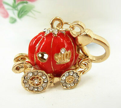 Red Pumpkin Carriage Charm Pendant New Fashion Rhinestone Crystal Halloween Gift