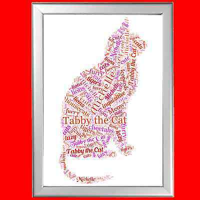 WORD ART FOR Pet Memorial - CAT- LOST PET - PERSONALISED (ANY PET AVAILABLE)