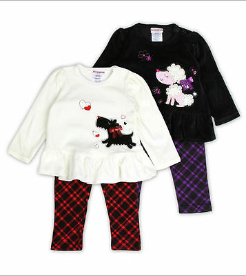 Buster Brown Girls 2 Piece Set Embroidered Velour Top and Printed Leggings.