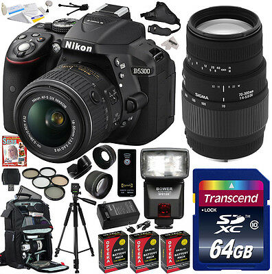 Nikon D5300 18-55 + Sigma 70-300 Lens DSLR Digital Camera (Advanced Bundle Kit)