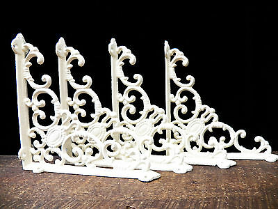 "Lot 4 Antique-Style OFF-WHITE Cast Iron Cameo 8"" x 8"" SHELVING BRACKETS Braces"