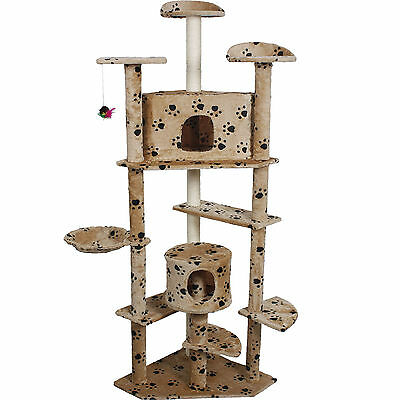 """New 80"""" Cat Tree Condo Furniture Scratch Post Pet House Beige Paws"""