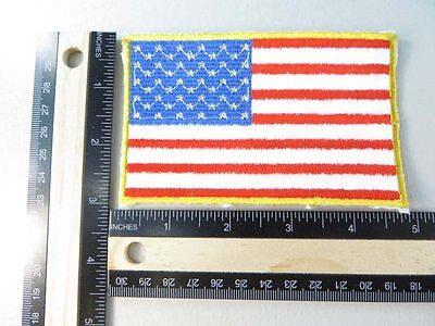 American flag USA patriotic gold border iron on embroidered patch applique