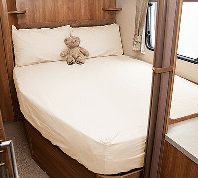 Ivory Walnut Whip Elddis Odyssey 534 Caravan Fitted Sheet White
