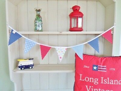 "Cath Kidston Fabric Boys Bunting Vintage Nautical Blue Red 36"" Handmade Bunting"