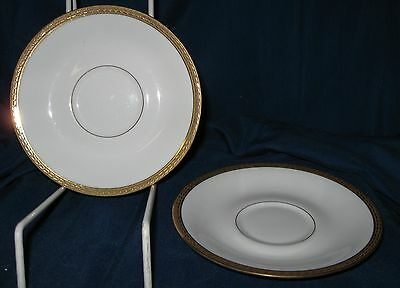 """2 LIMOGES France A. Lanternier Saucers 5 3/4"""" Gold Encrusted  Band, Very good"""