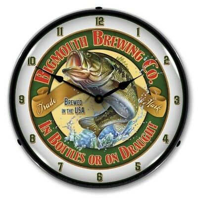 Nostalgic Vintage Style BigMouth Brewing Fish Backlit Lighted Wall Clock Sign