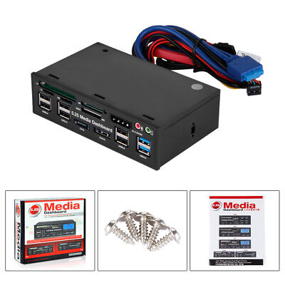 "E-SATA 5,2"" Adapter 6 Ports DUAL USB 3.0 Front Panel Hub with Card Reader"