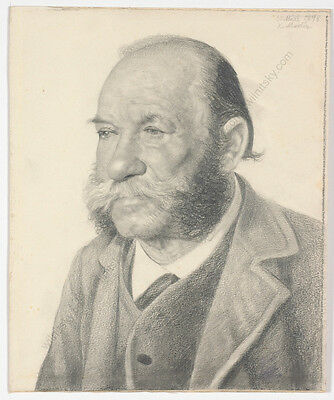 "Karl Mediz (1868-1945) ""Male Portrait"", Drawing, 1898"