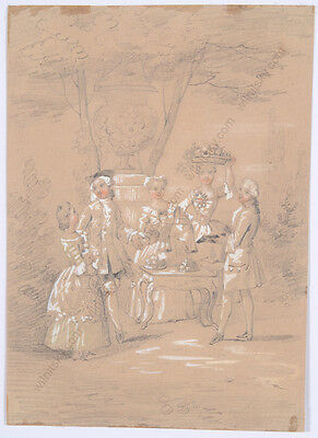 """Rococo Scene in Park"", Early 19th Century, French School, Watercolor"