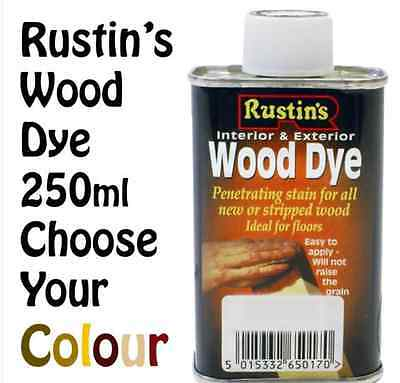 Wood Dye By Rustins Penetrating Wood Stain in 11 Colours All Types Of Wood 250ml