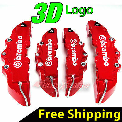 4 Pieces 3D Brembo Look Disc Brake Caliper Covers Front and Rear Universal RED
