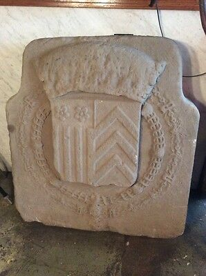 Large Antique Limestone Panel w Sheild and Wreaths #8062