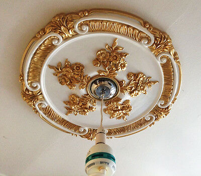 Ceiling Rose Gold White Victorian Medallion Ornate Home Decor Traditional 66Cm