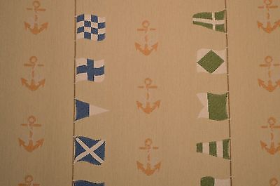 """Jacquard Upholstery Fabric Nautical """"Flags & Anchors"""" Sold By The Yard"""