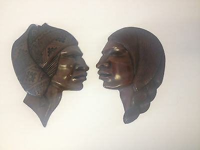 Likely Vtg Pair of Mahogany or Walnut Carved Wood Wall Hangings Ethnic Figures