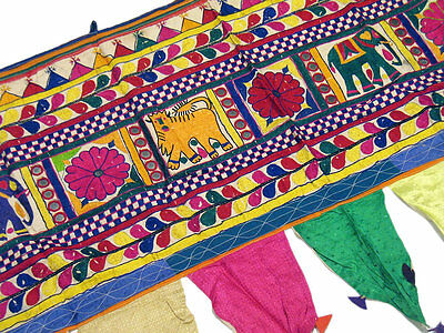 Antique Kutch Textile Valance Embroidery Window Door Handmade Mirror Topper 46in