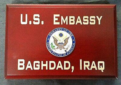 "U.S. Embassy Baghdad, Iraq Cherry Wood Beveled Edge 4""X6""X.75"" Sign MADE IN USA"