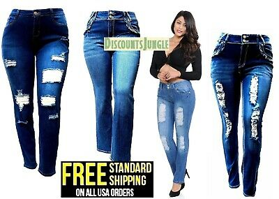WOMENS PLUS SIZE Destroy Distressed RIPPED BLUE SKINNY DENIM JEANS PANTS- N596-R