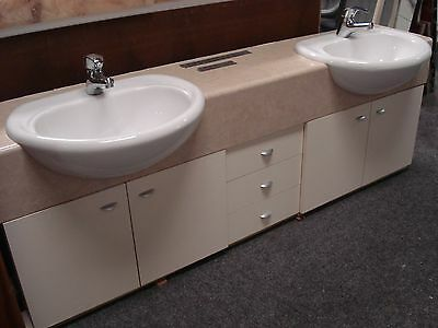 Wall hung white and cream double vanity (W)1800 x (D)350 x (H)600 -$315.00