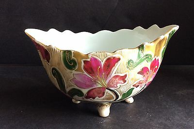 ANTIQUE P H LEONARD VIENNA AUSTRIA HANDPAINTED FOOTED BOWL  CIRCA 1900s