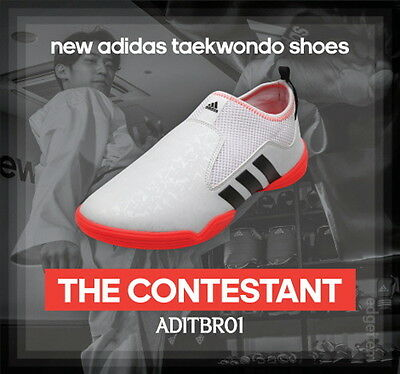Adidas The Contestant Taekwondo Shoes White / Orange ADITBR01 TKD Combat Sports