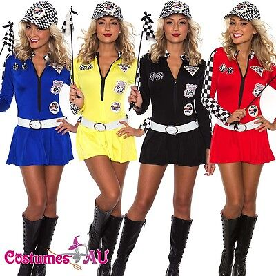 Miss Indy Super Car Racer Racing Sport Driver Grid Girl Fancy Dress FREE POST AW