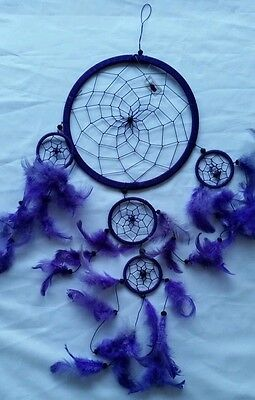 Purple dreamcatcher Large With Feathers Excellent Condition