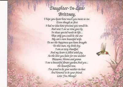 Personalized Daughter-In-Law Poem Gift Birthday Wedding