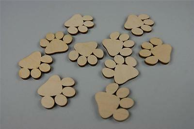 30x Wooden SMALL PAWS DOG CAT Embellishment Room Child Decoration Shape (Y8)
