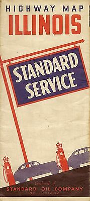 1935 STANDARD OIL Red Crown Road Map ILLINOIS Route 66 Chicago United States