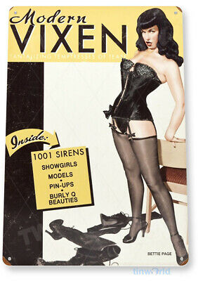 "TIN SIGN ""Betty Page Vixen"" Metal Decor Wall Art Pin-up Shop A246"