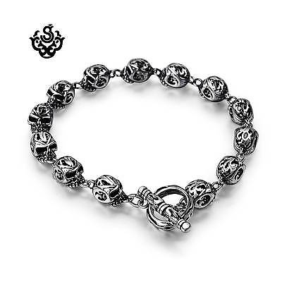 Silver skull bracelet stainless steel chain soft gothic fashion jewelry solid