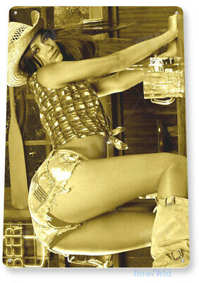 "TIN SIGN ""Fallen"" Metal Decor Wall Art Pin-up Cowgirl Farm Beer Girl Bar A806"
