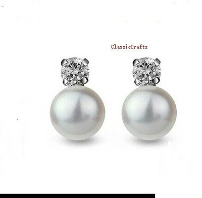 925 sterling silver 9-10mm freshwater pearl shiny CZ stud  earrings 4 colours