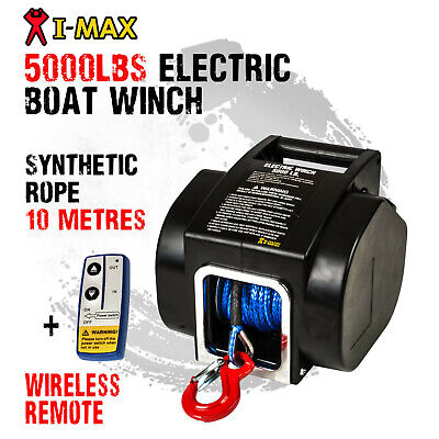 I-MAX 12V 5000LBS Portable Electric Synthetic Rope Boat Winch Trailer ATV 4WD4x4