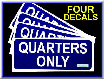 Quarters Only, Air Vac Vending Machine Decals, Large, Dark-Blue, High Quality