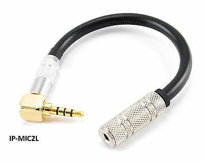 3.5mm Stereo Right Angle TRRS 4-Pole M to TRS Jack Microphone to iPhone Adapter