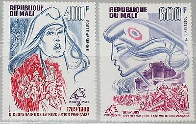 MALI 1989 1125-26 C550-51 French Revolution Bicent. PHILEXFRANCE 89 Marianne MNH