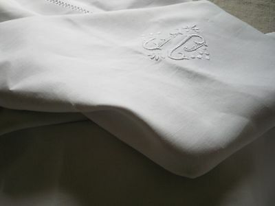 "ANTIQUE FRENCH PURE LINEN SHEET - Monogram ""JF"" - 92.5 Wide"