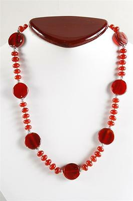 Exquisite Vintage Red Quartz Rondelle & Red Art Glass Necklace