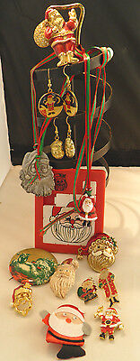 Vintage Lot  of 14 Santa Jewelry Pins, Necklaces, Earrings