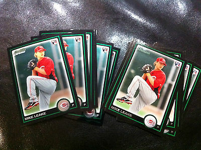 2010 Bowman Draft Mike Leake 13 Count all RC lot- 6 chrome, 7 base Reds