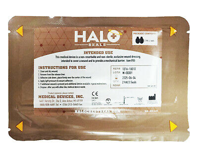 HALO Chest Seal Pack of 2 Occlusive Dressing For Open Chest Wounds IFAK EMT